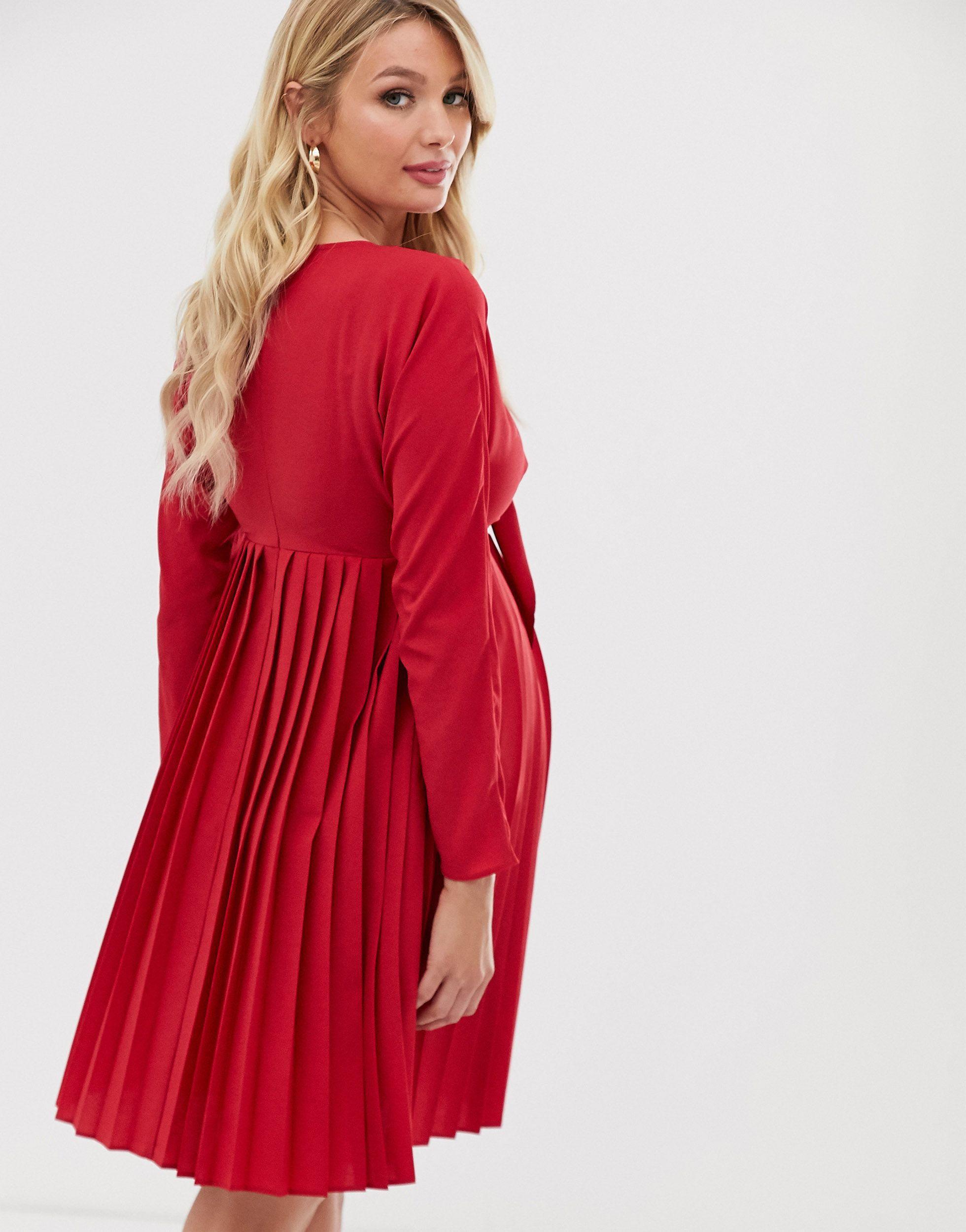 ASOS DESIGN Maternity - Robe courte plissée nouée sur le devant Synthétique ASOS en coloris Rouge
