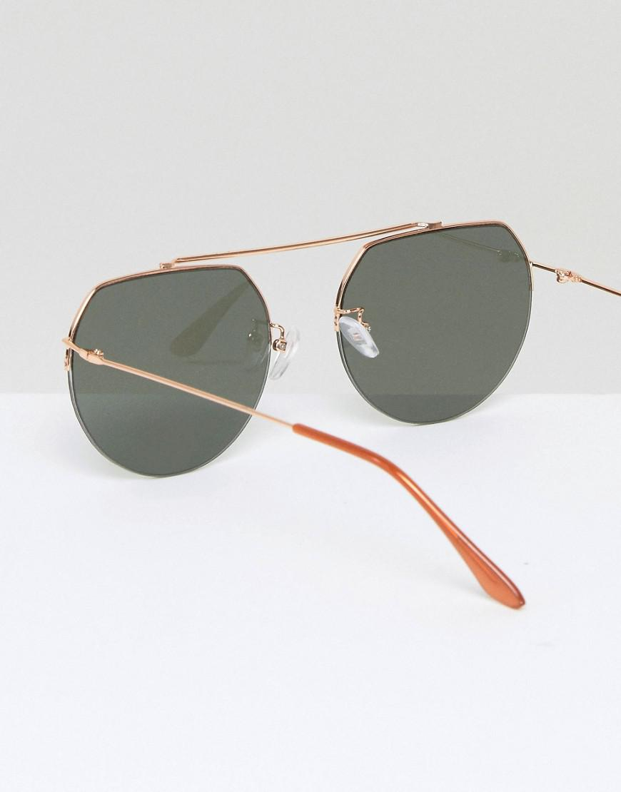 ASOS Denim High Bar Aviator Sunglasses in Gold (Metallic)