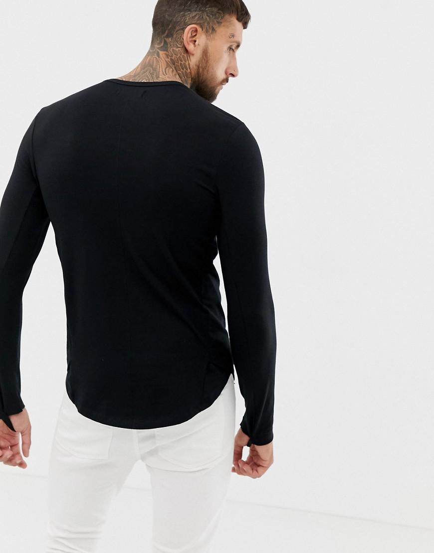 ee730c56 Religion Extreme Muscle Fit Long Sleeve T-shirt With Front Print in Black  for Men - Lyst