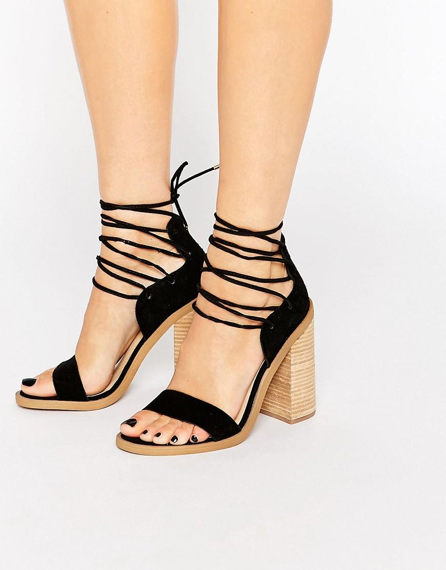 Wooden Heel Ankle Strap Shoes