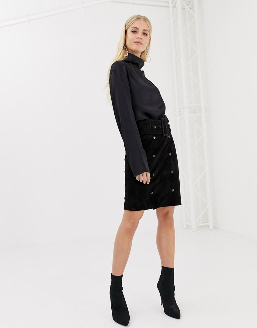 8cd538e54 Y.A.S Belted Suede Pencil Skirt in Black - Lyst