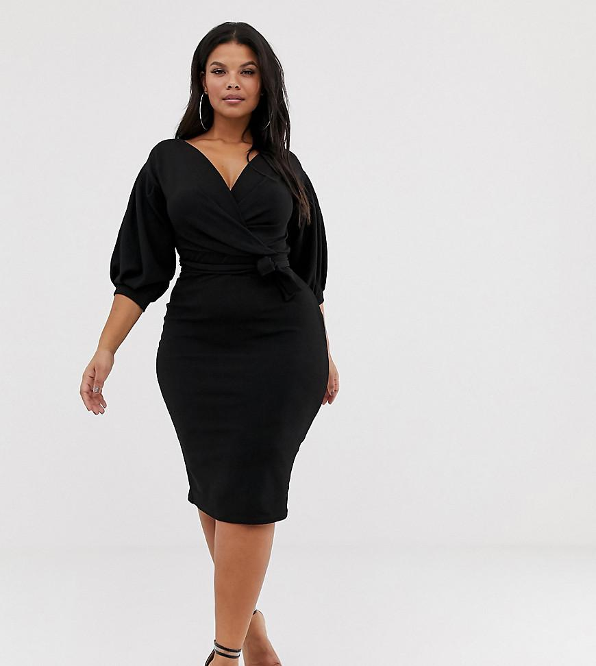 963c94dea10d7 Lyst - Boohoo Off The Shoulder Wrap Dress In Black in Black