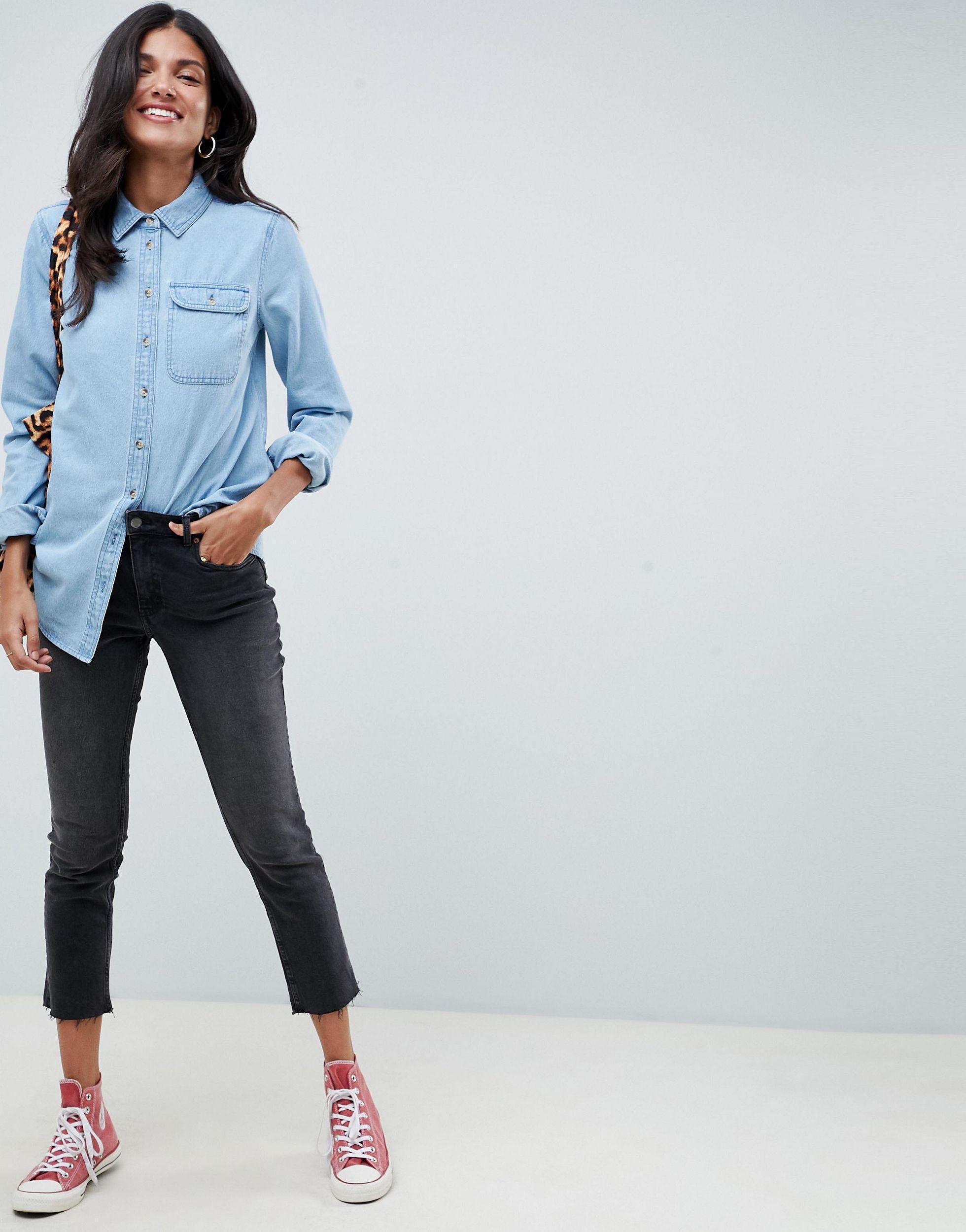 ASOS DESIGN Tall - Chemise en jean à poche - délavé moyen Jean ASOS en coloris Bleu