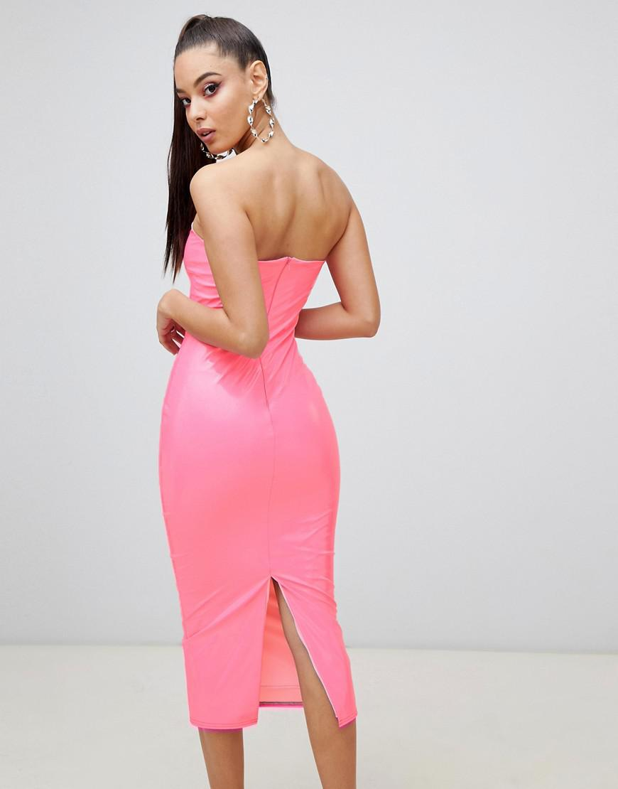 2139d431388 ASOS Pu Bandeau Bodycon Midi Dress in Pink - Lyst