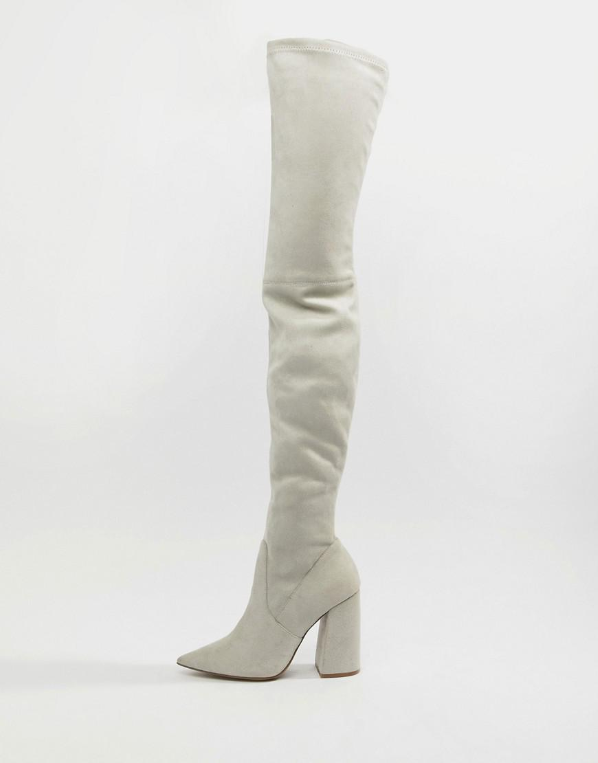 7a79460322d Lyst - ASOS Kera Pointed Thigh High Boots in Gray