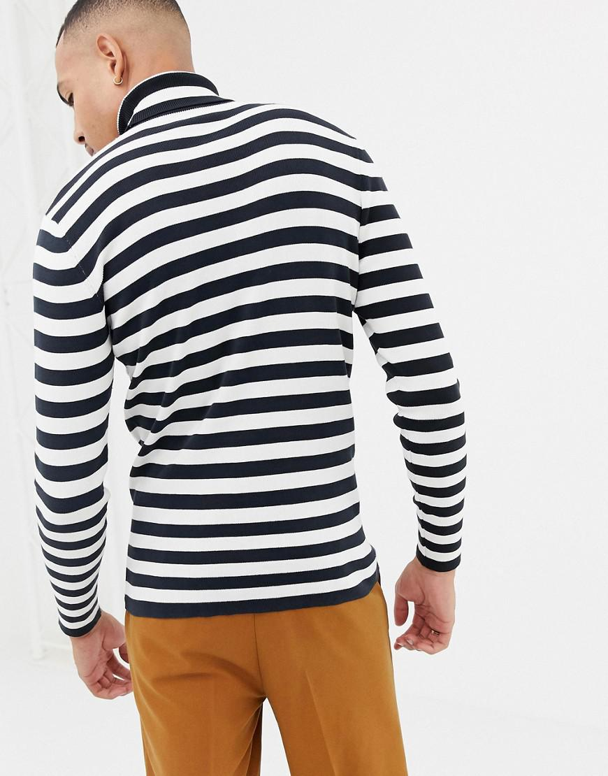 d2b00da0 Lyst - SELECTED Roll Neck Stripe Long Sleeve Top in Black for Men