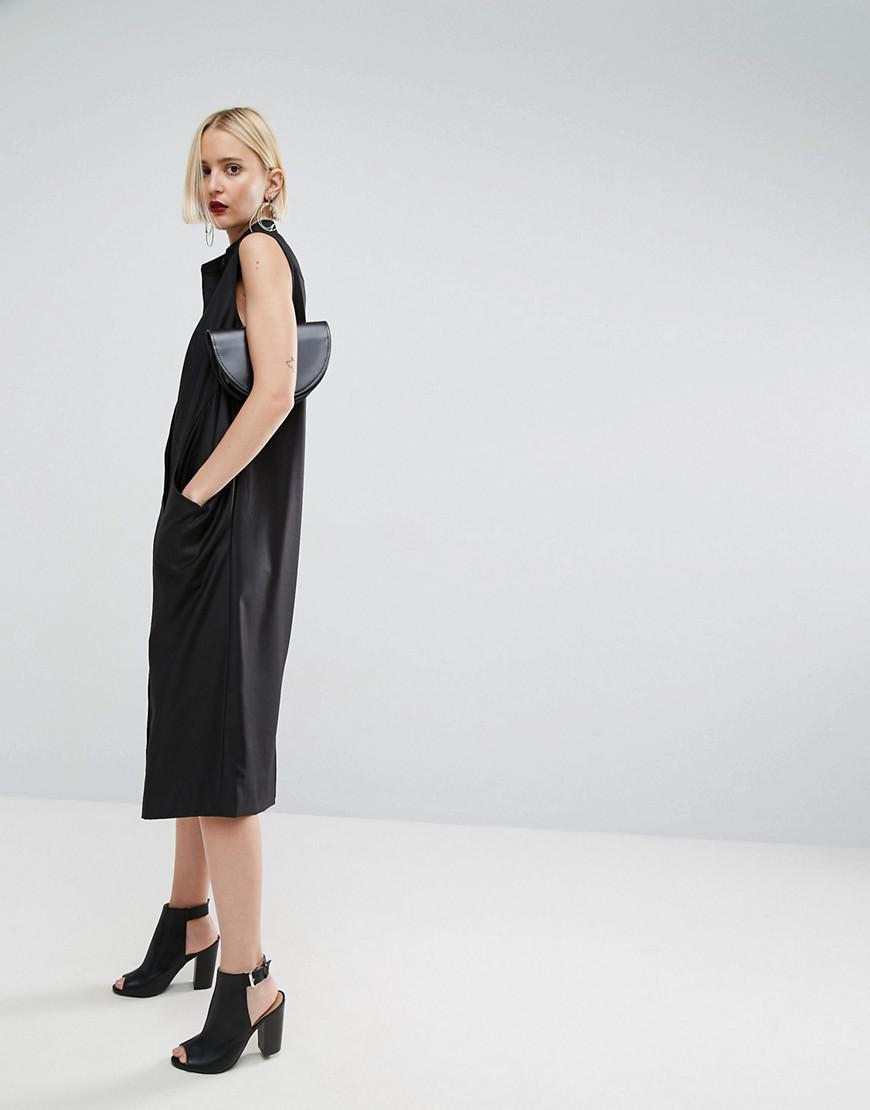 Asos midi shirt dress in black lyst for Midi shirt dress black