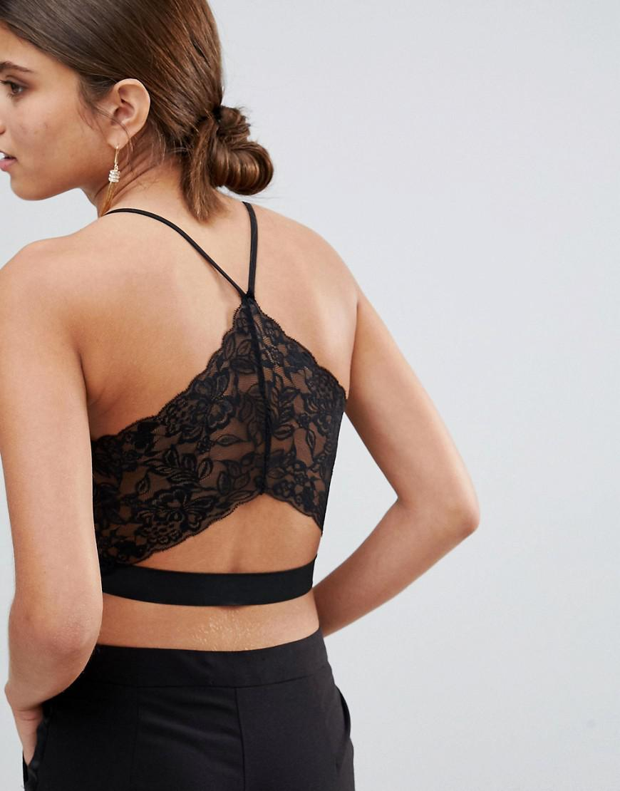 51fbe548187c1 Lyst - ASOS Lace Back Deep Plunge Bralette in Black