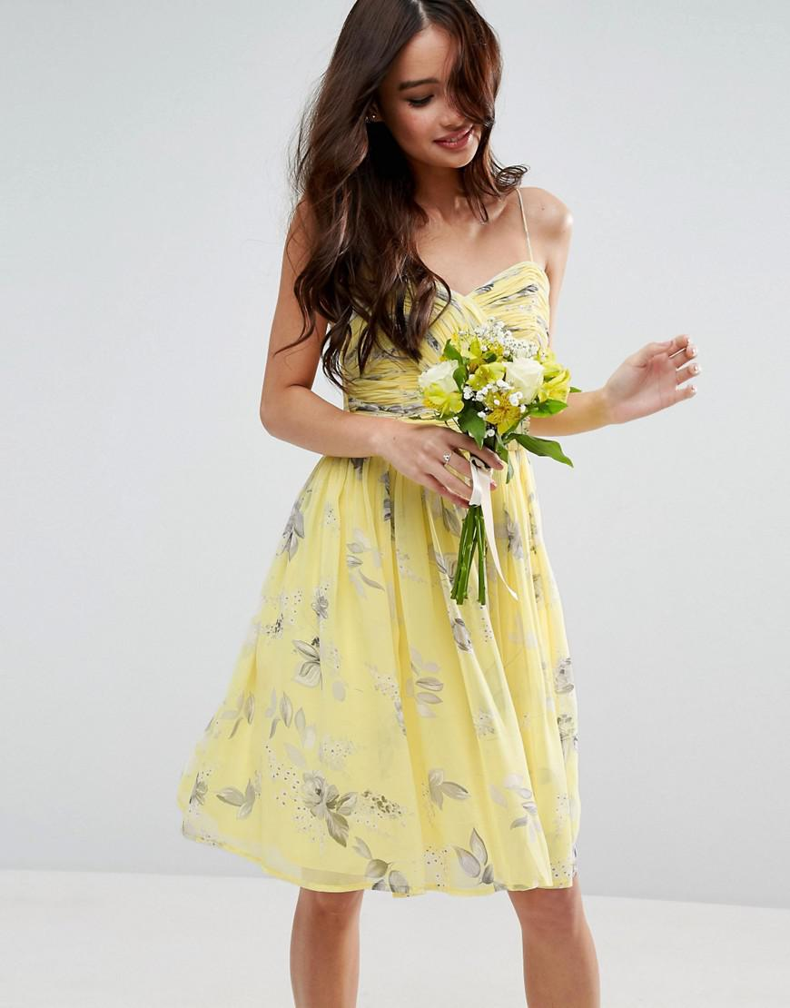 253c089de3b Lyst - ASOS Design Bridesmaid Ruched Mini Dress In Sunshine Floral ...