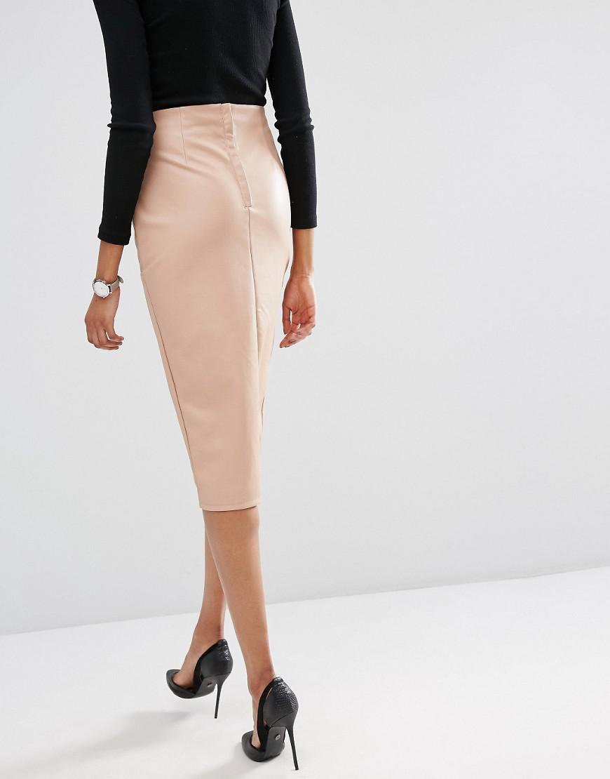 a031368d24 ASOS Pu Pencil Skirt With Pockets And Front Split in Natural - Lyst