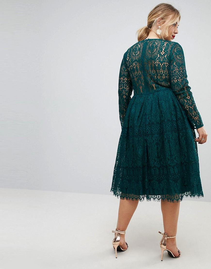 ASOS Long Sleeve Lace Midi Prom Dress in Green - Lyst