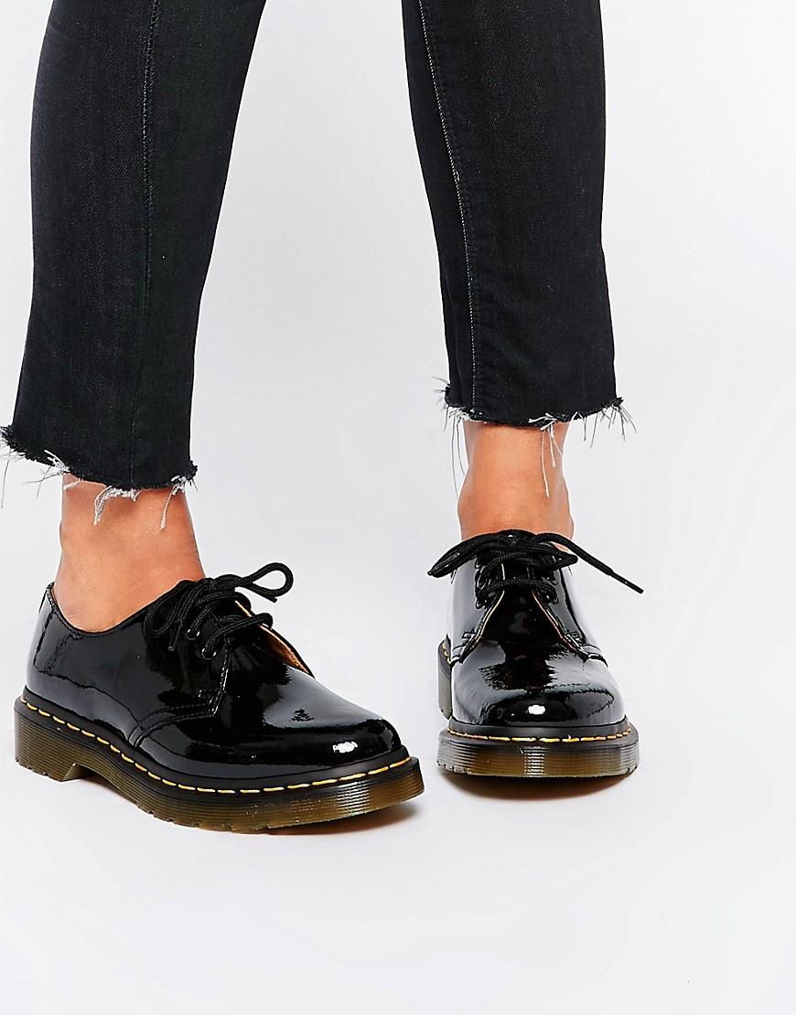 Dr Martens  Classic Black Patent Flat Shoes