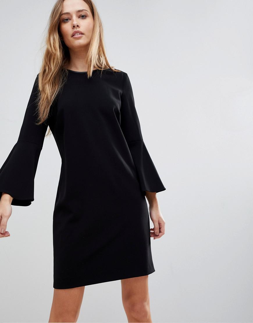 Polo Ralph Lauren. Robe manches ballon et bordures en cuir femme de coloris  noir e60452876e4