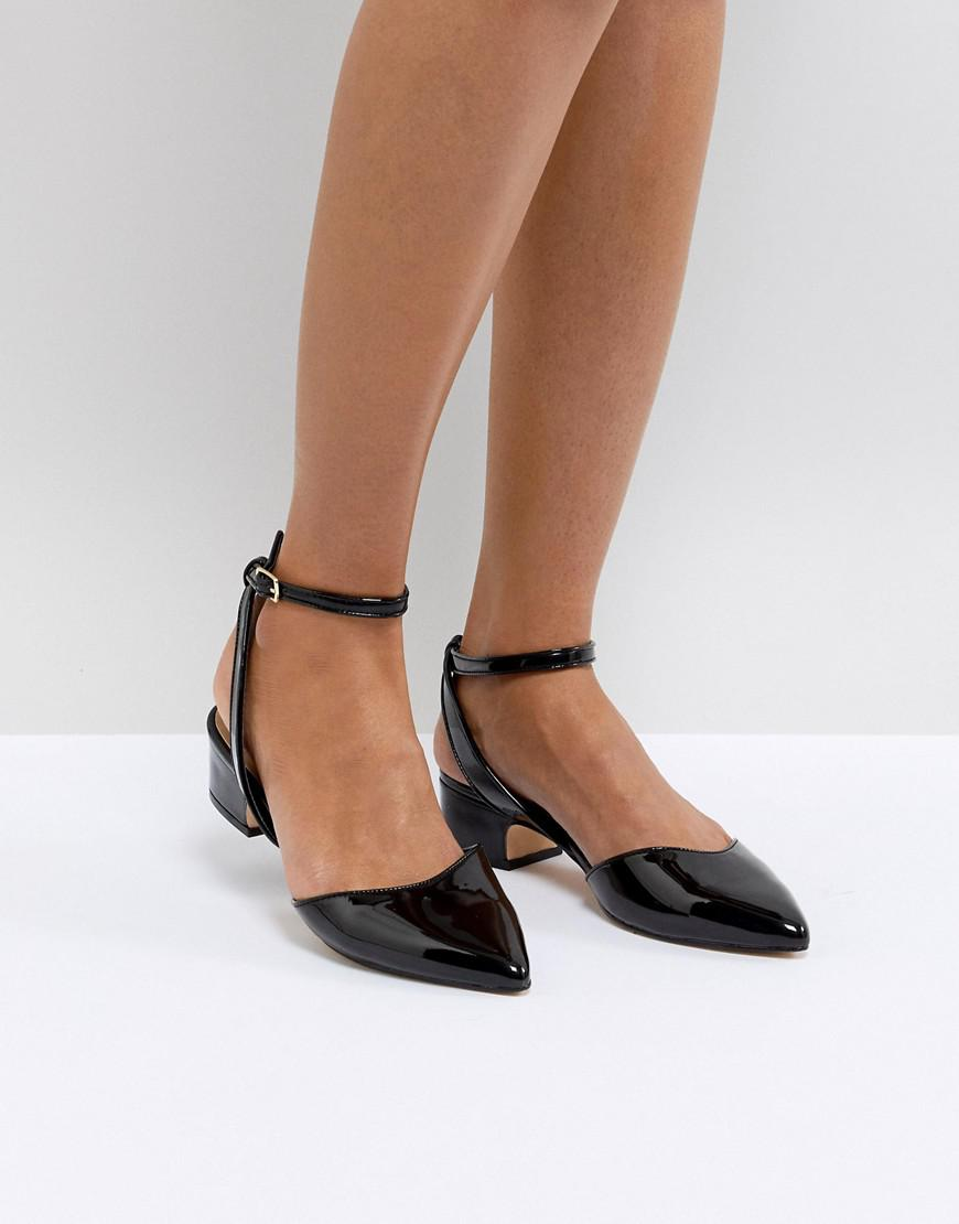 Black Leather Low Heel Shoe Boots