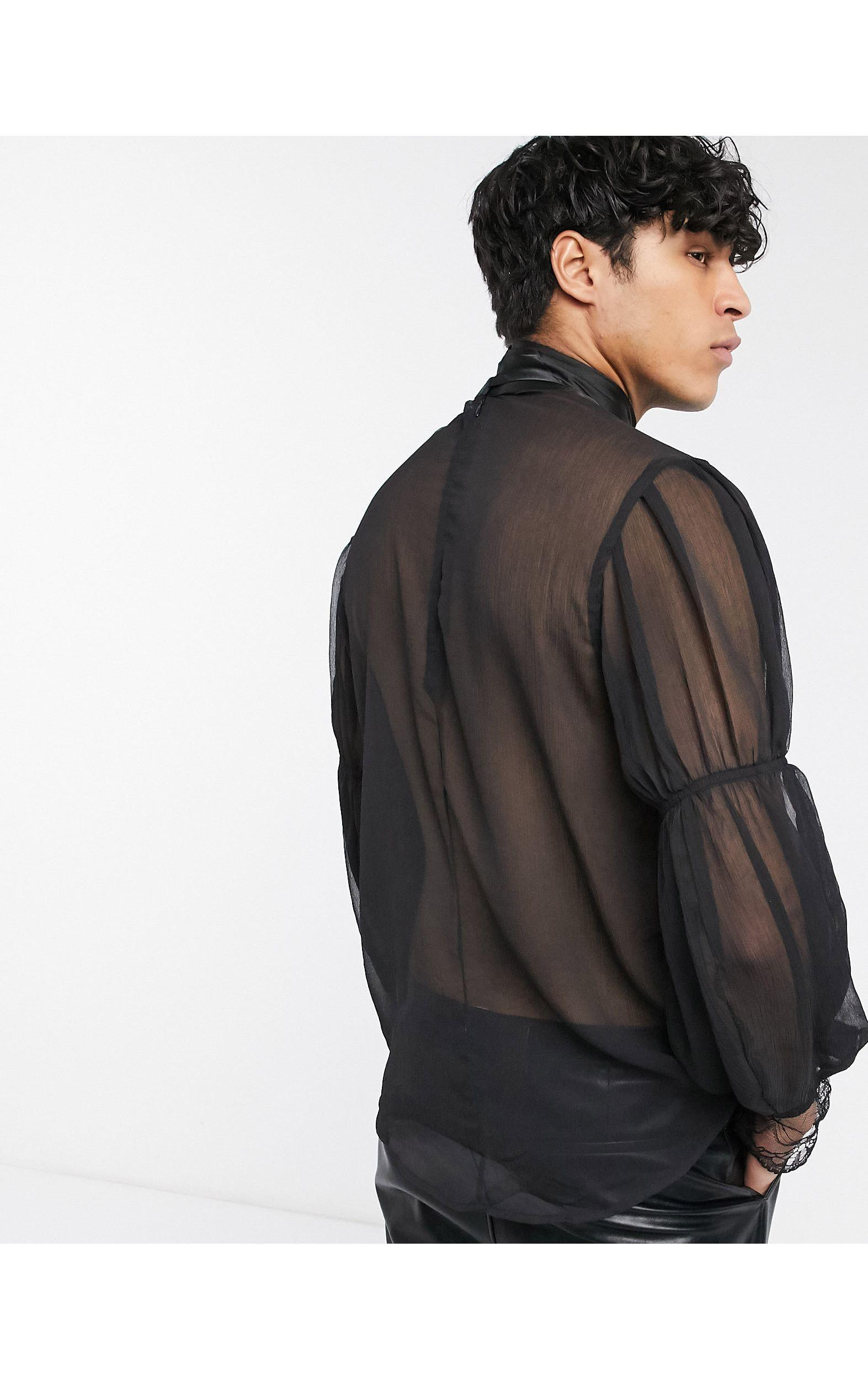 ASOS Kant Regular-fit Overhemd Met Blousonmouwen in het Zwart voor heren
