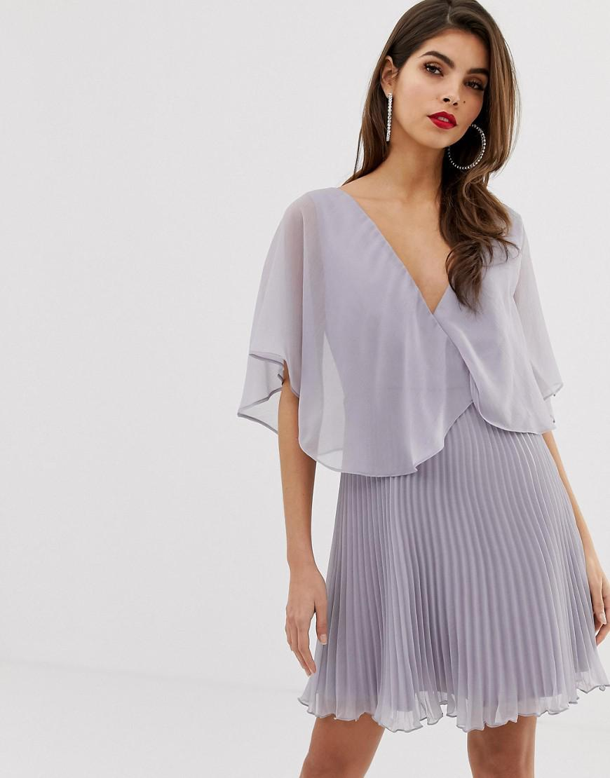 81f67d06d7fa4e Lyst - ASOS Mini Dress With Pleat Skirt And Flutter Sleeve in Metallic