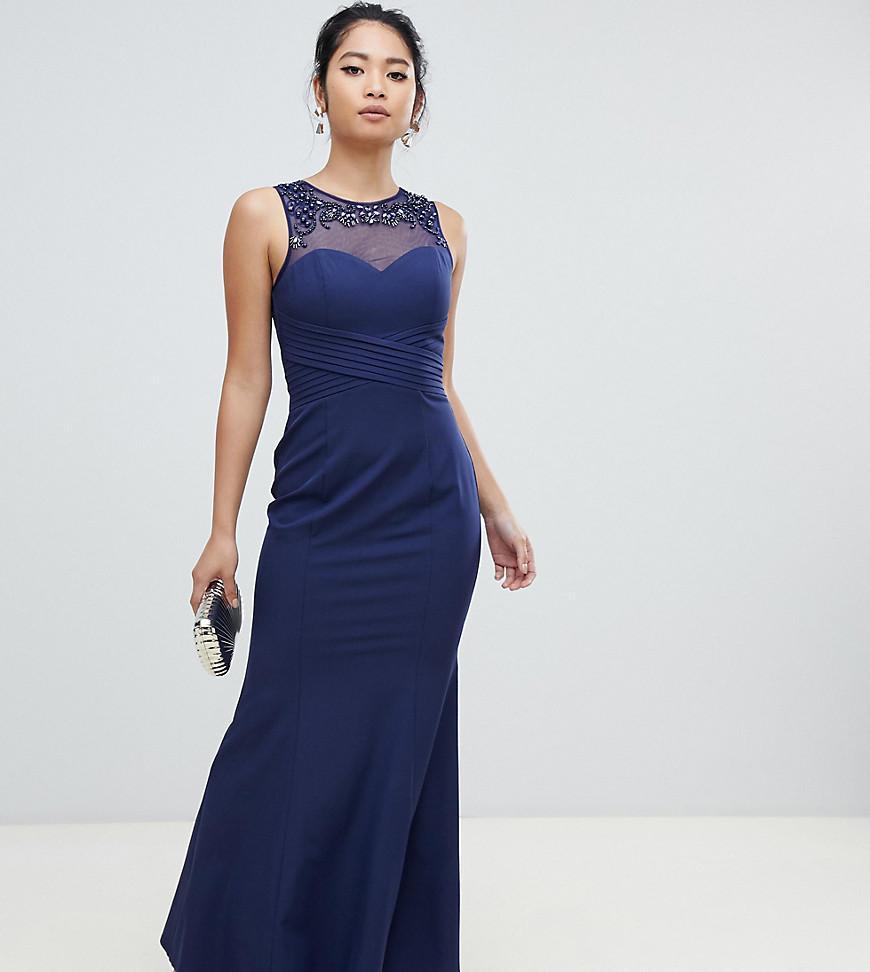 275158f4f Vestido largo azul marino con pliegues y cuello adornado de mujer