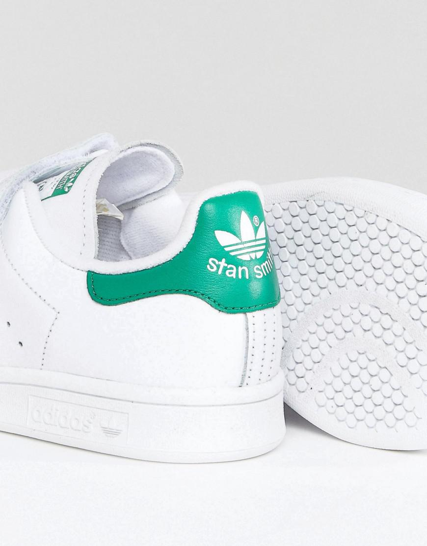 huge discount bb1dc c822d Adidas Originals - Originals White And Green Velcro Stan Smith Trainers -  Lyst