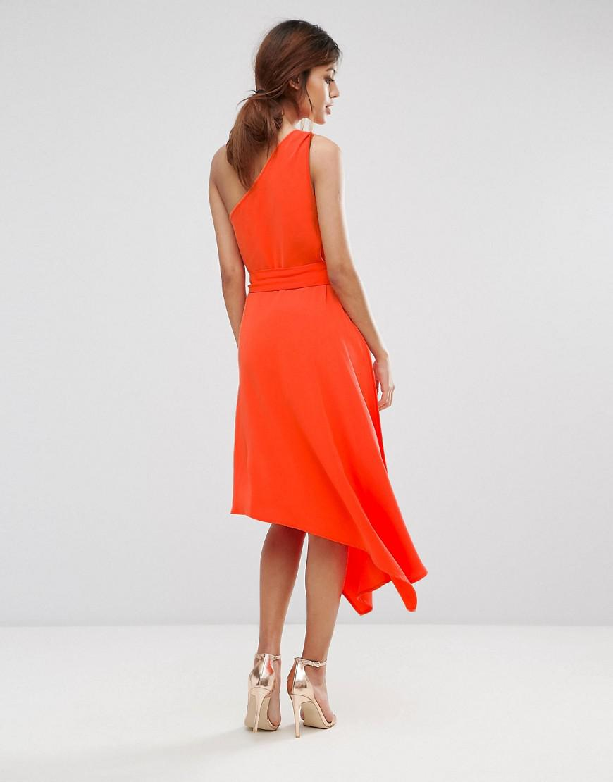 9495dd769ab Warehouse One Shoulder Dress in Orange - Lyst