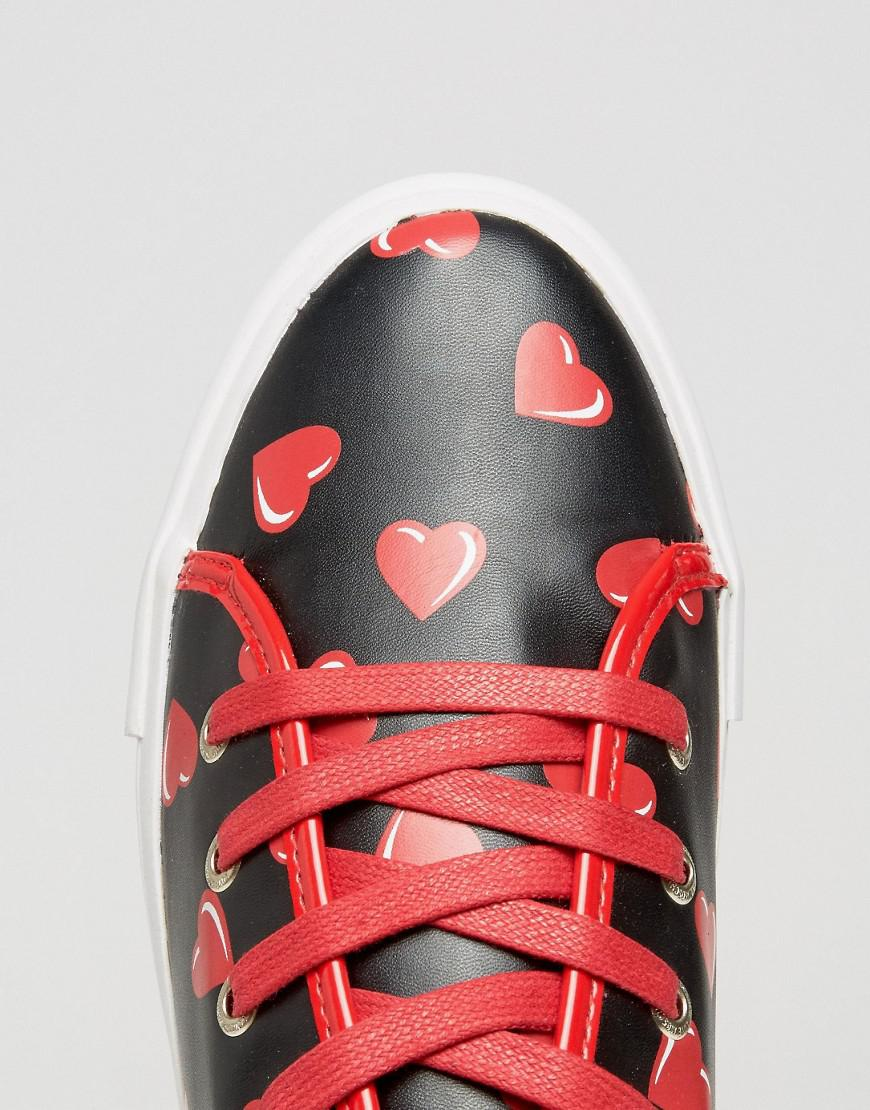 Love Moschino Heart Print Flatform Sneakers in Black