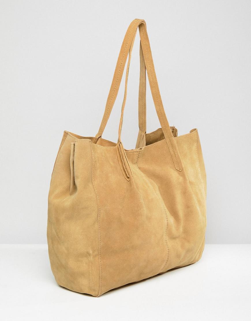 Mango Suede Tote Bag in Beige (Natural)