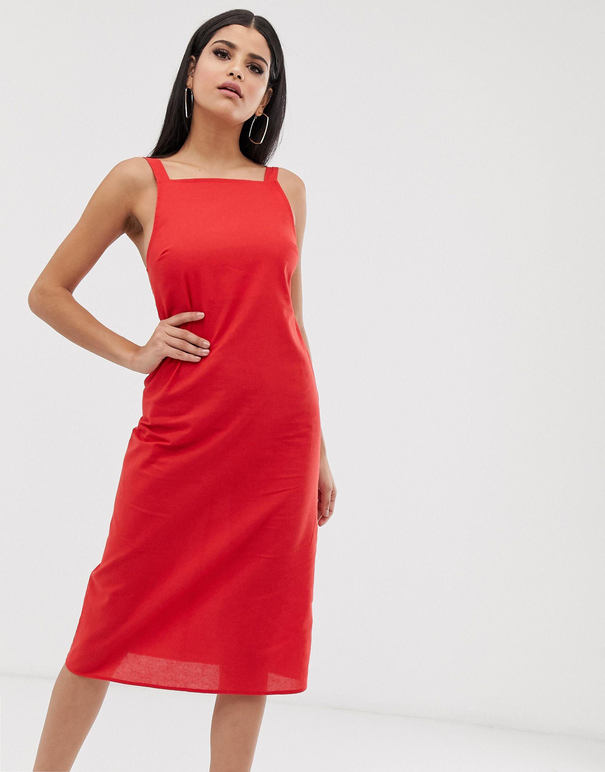 ASOS DESIGN Tall - Robe d'été mi-longue avec boucle au dos Coton ASOS en coloris Rouge