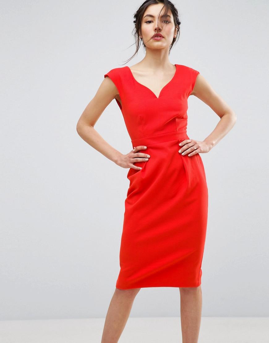 Lyst Asos Bardot Pencil Dress In Red