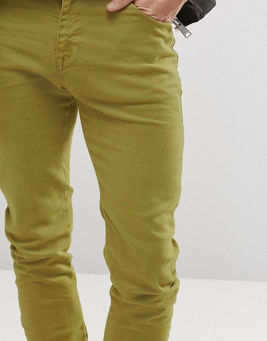 ASOS Denim Super Skinny Longline Stacker Jeans In Light Khaki in Green for Men