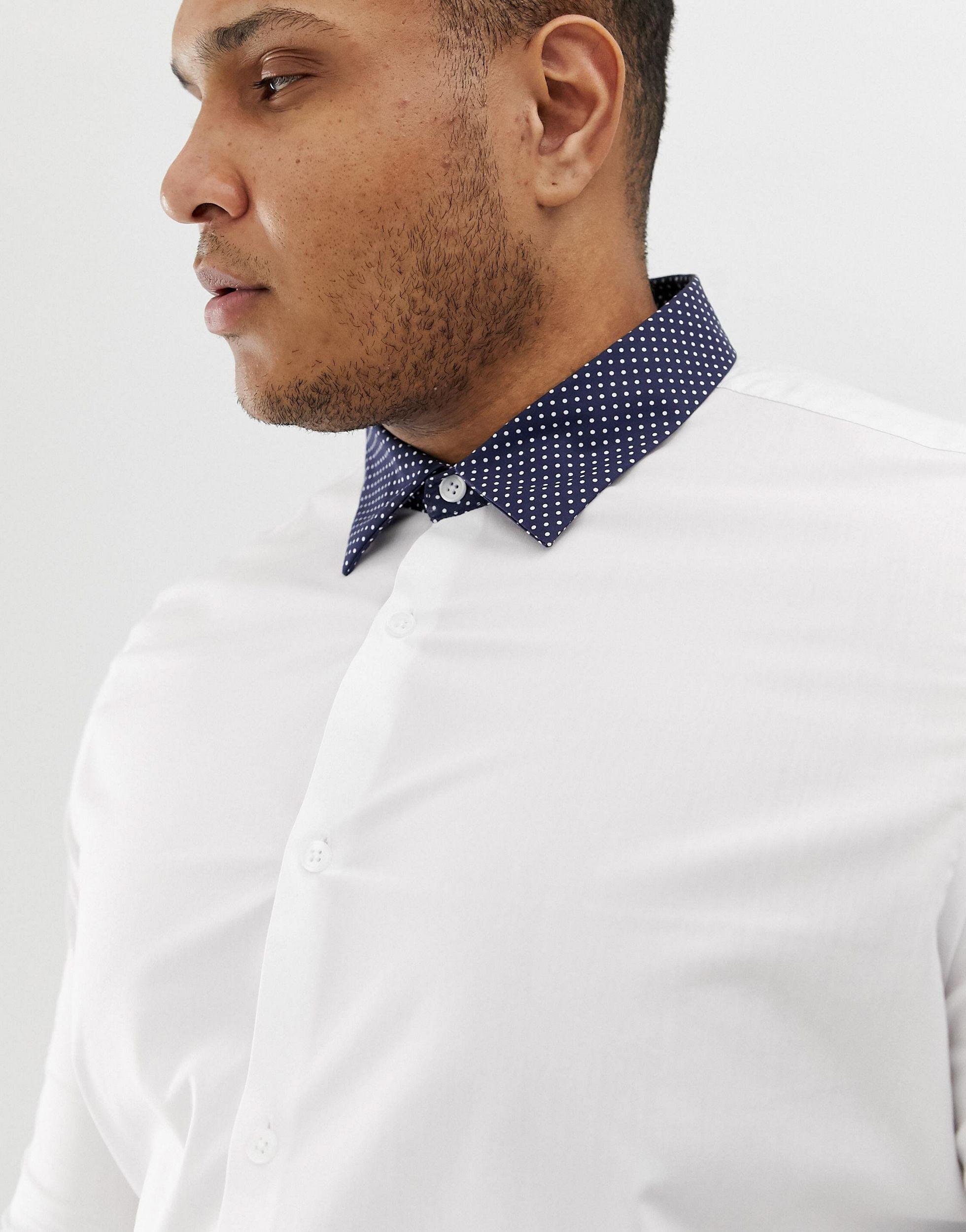 ASOS Katoen Plus - Skinny-fit Overhemd in het Wit voor heren