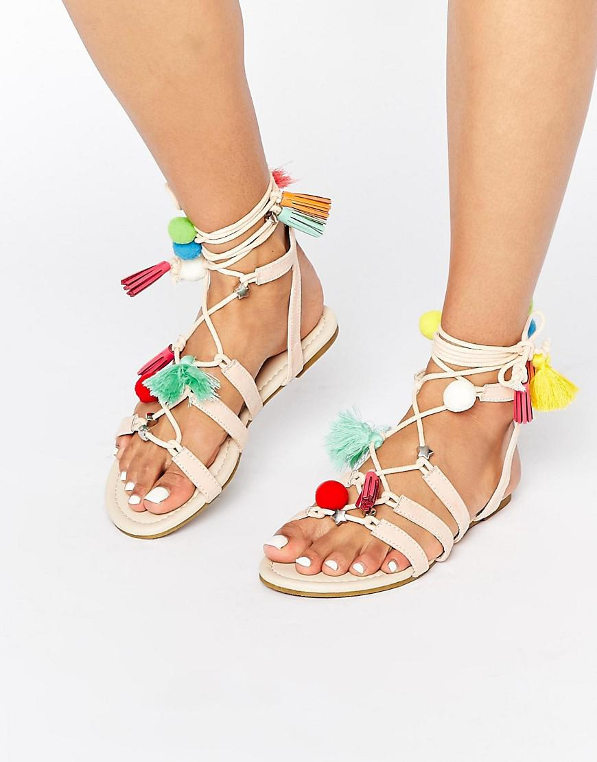57d3fe65fd04 Lyst - Asos Fera Novelty Pom Sandals in Natural
