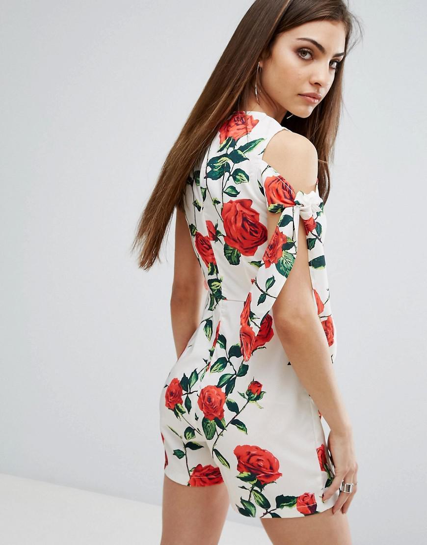 98a53372df8 Lyst - PrettyLittleThing Floral Cold Shoulder Romper