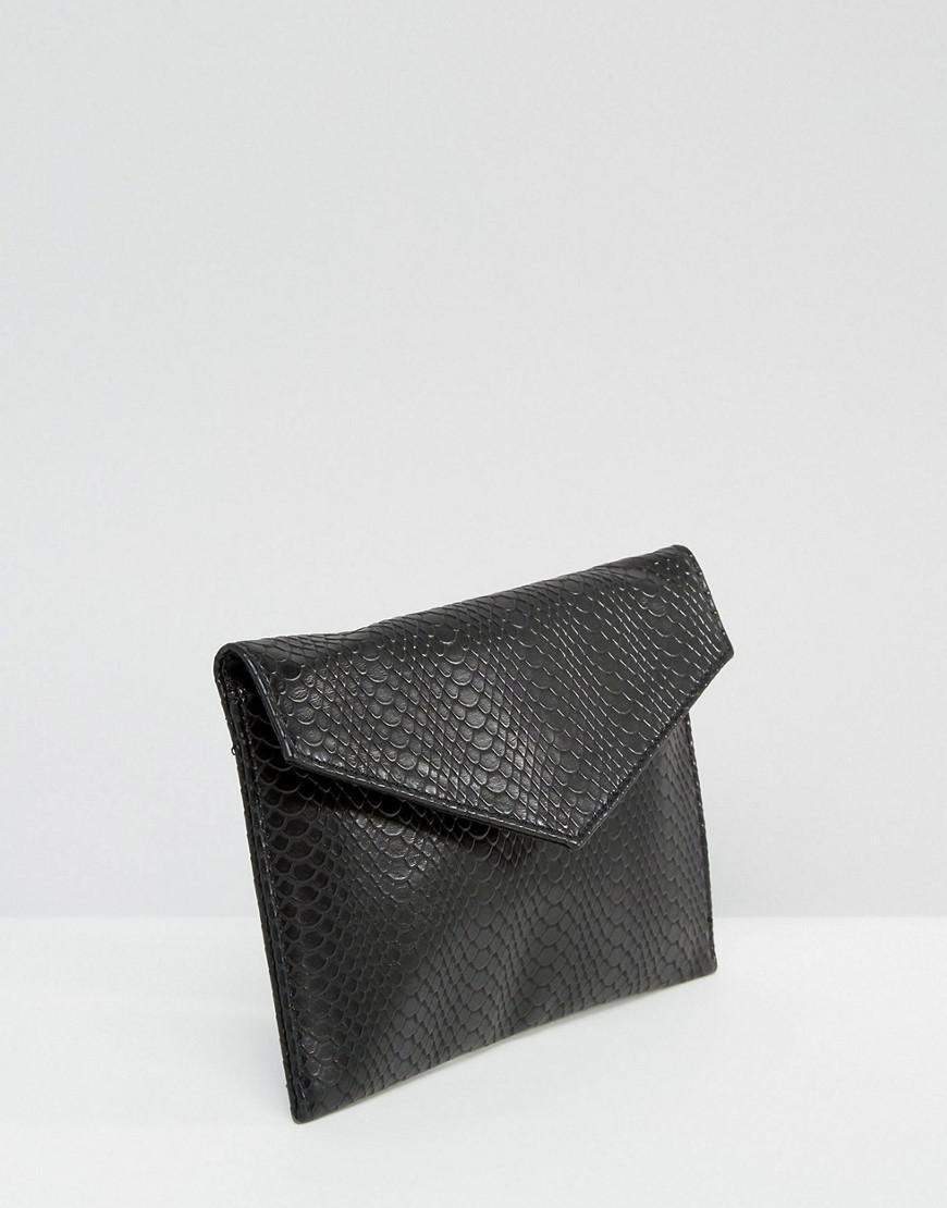 ASOS Leather Croc Envelope Cross Body Bag - Black