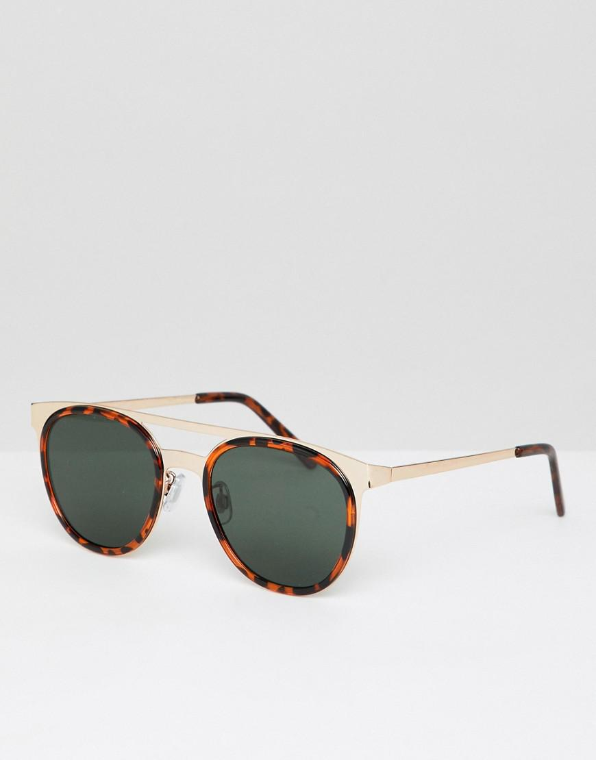 2a7bd99001 Lyst - Asos Retro Sunglasses In Metal With Tort Details in Brown for Men