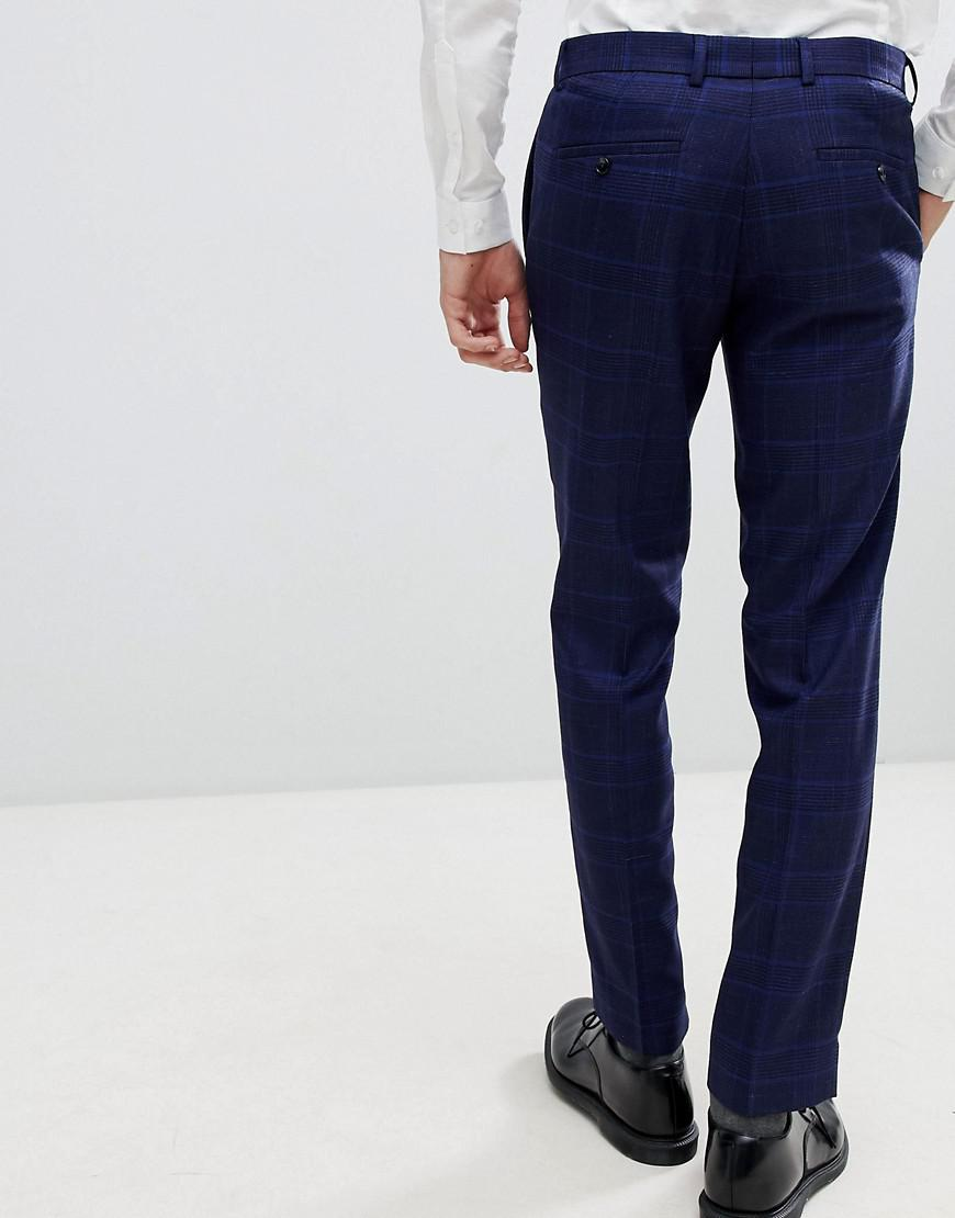 96e544e07 Lyst - Moss Bros Moss London Skinny Suit Pants With Stretch In Flannel  Check in Blue for Men