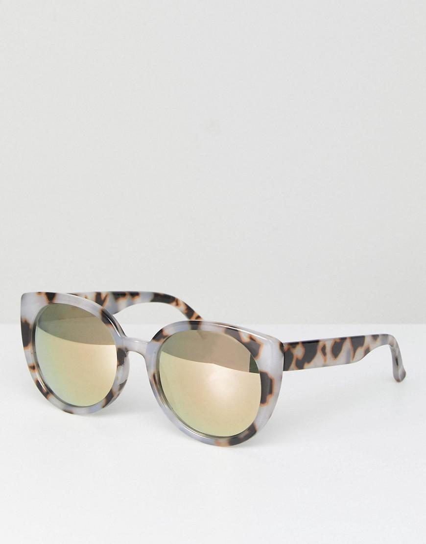 1a0e2b0e3e Lyst - ASOS Chunky Round Sunglasses In Milky Tort And Flash Lens