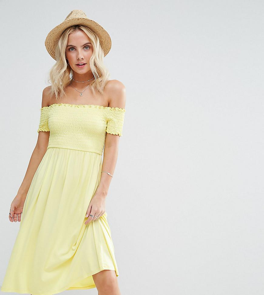 ASOS Synthetic Midi Off Shoulder Sundress With Shirring In