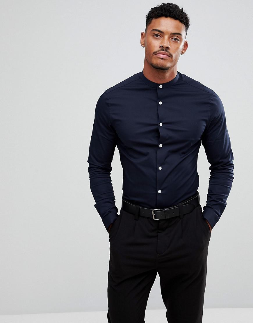 ASOS. Men's Blue Skinny Shirt In Navy ...