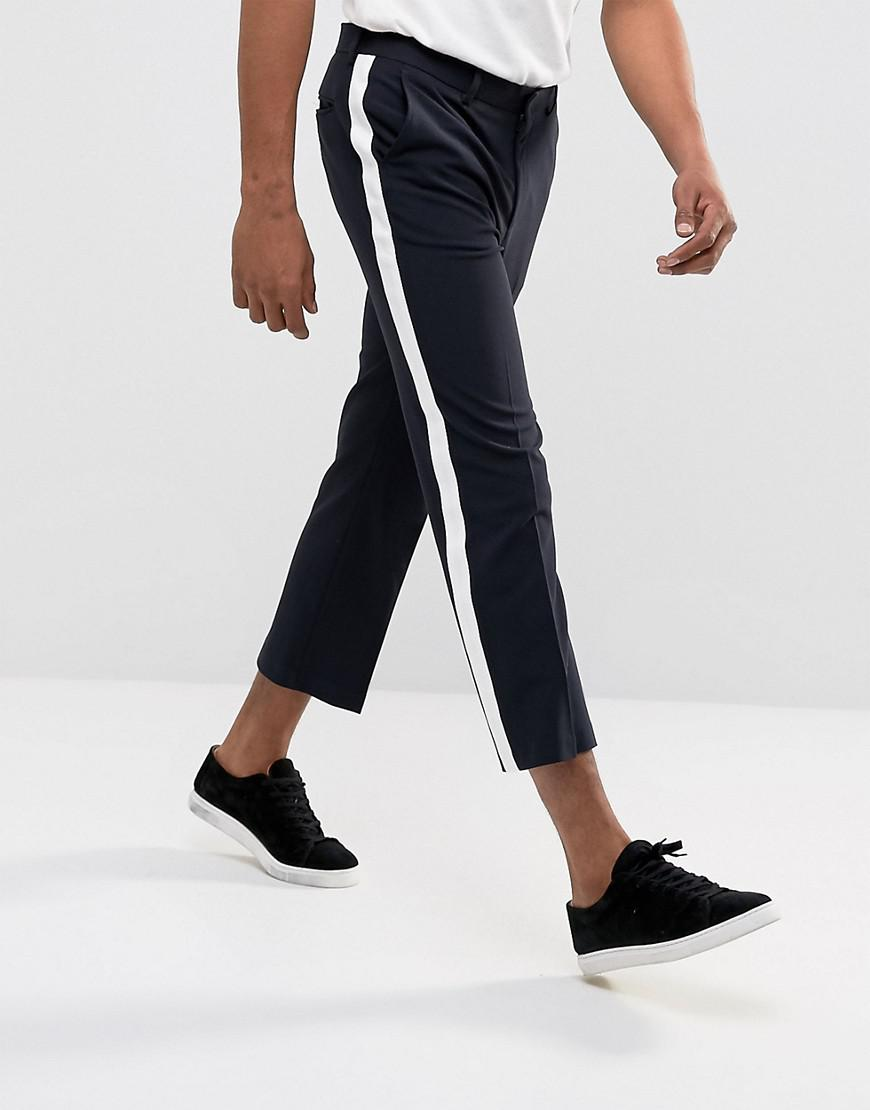 Tapered Cropped Trousers With Side Stripe In Navy - Navy Asos 5lXmj
