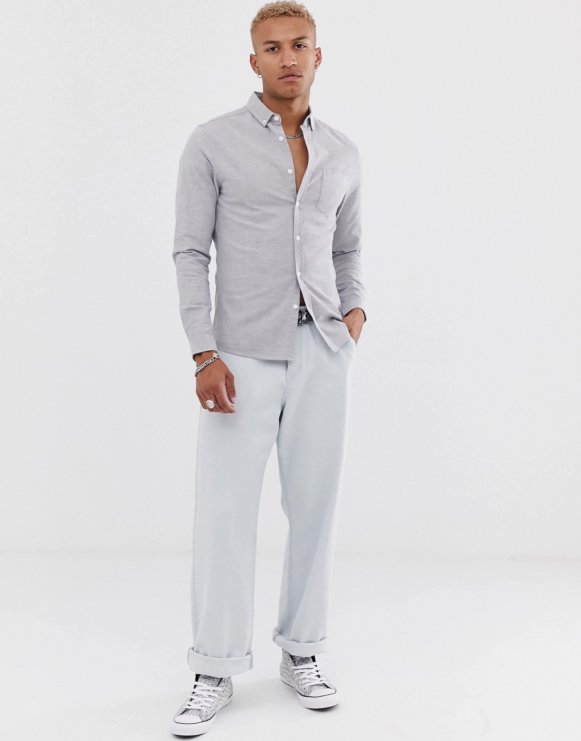 ASOS Katoen Skinny Oxford Overhemd in het Grijs voor heren