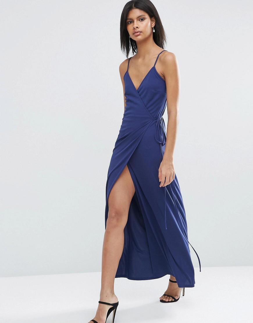 Asos wrap cami maxi dress in blue navy lyst for Robe maxi mariage asos