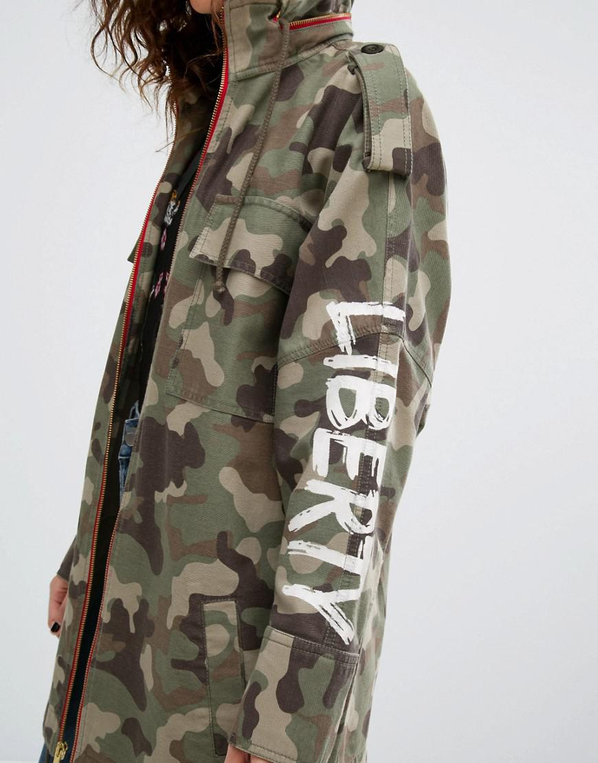 a61229436 House of Holland Green Camo Jacket With Floral Embroidery