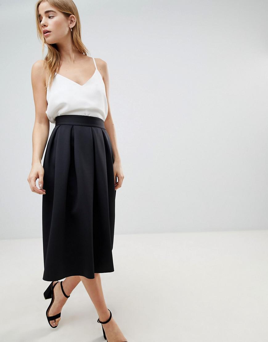 2c90f178d9 ASOS Midi Prom Skirt In Scuba in Black - Lyst