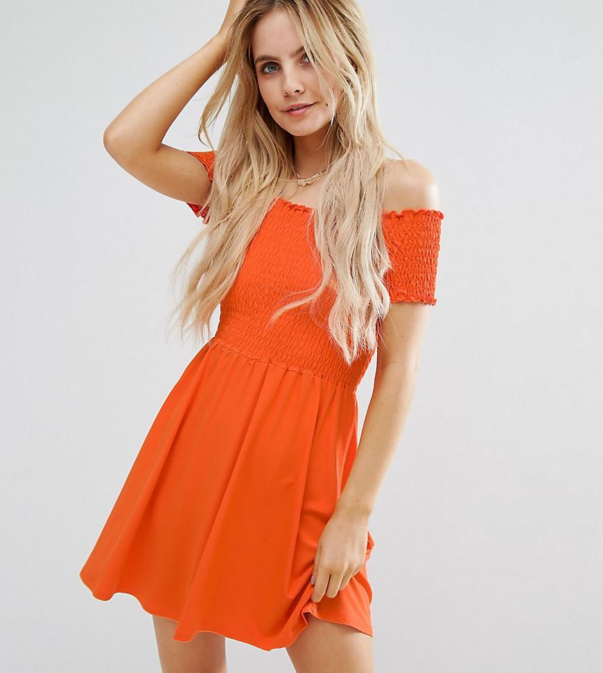 ASOS Shirred Bandeau Mini Sundress In Orange