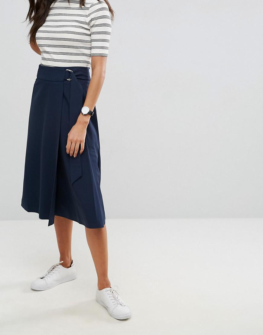 ASOS Synthetic Tailored Midi Skirt With Pleat And Solid Detail in Navy (Blue)