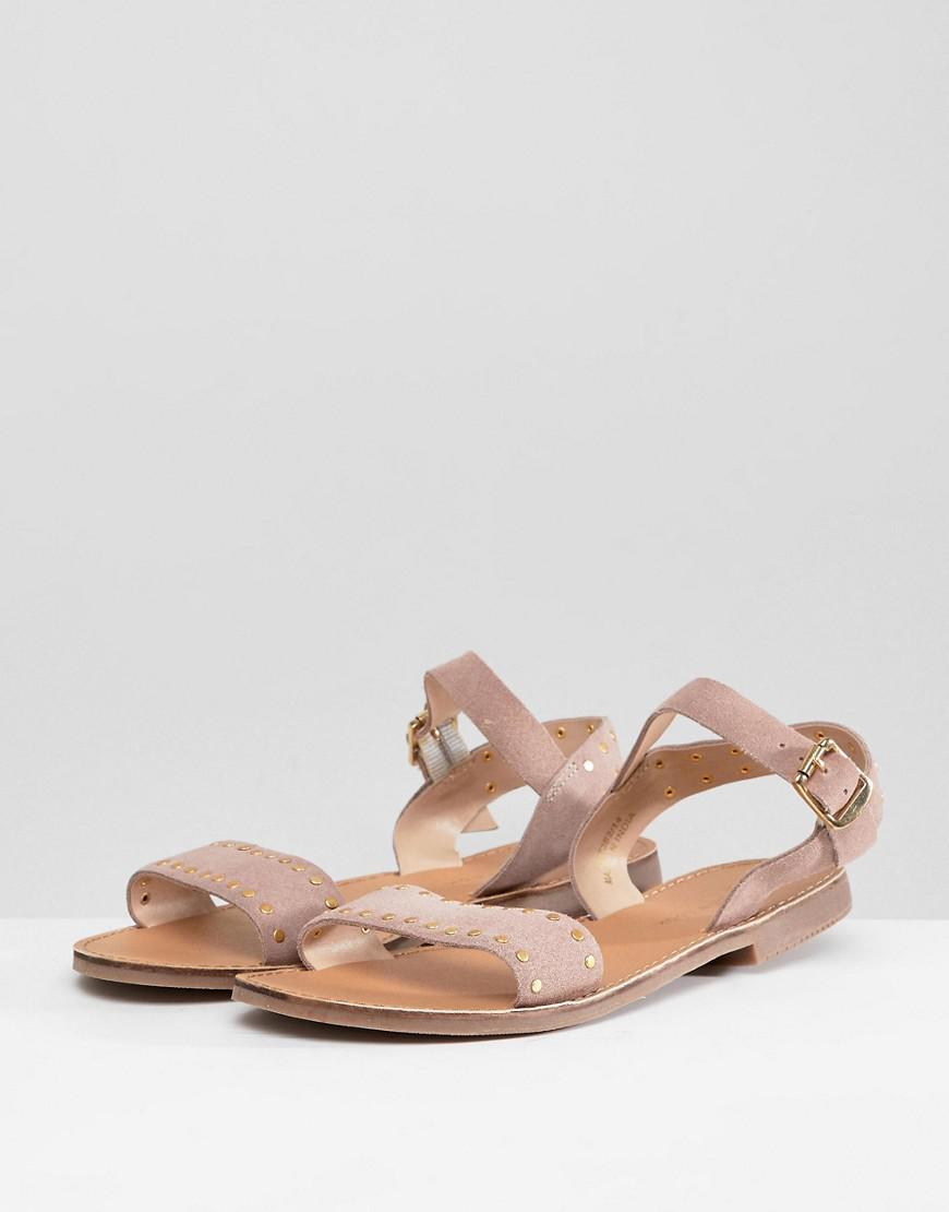 0f07bac2821 New Look Wide Fit Studded Flat Sandal in Natural - Lyst