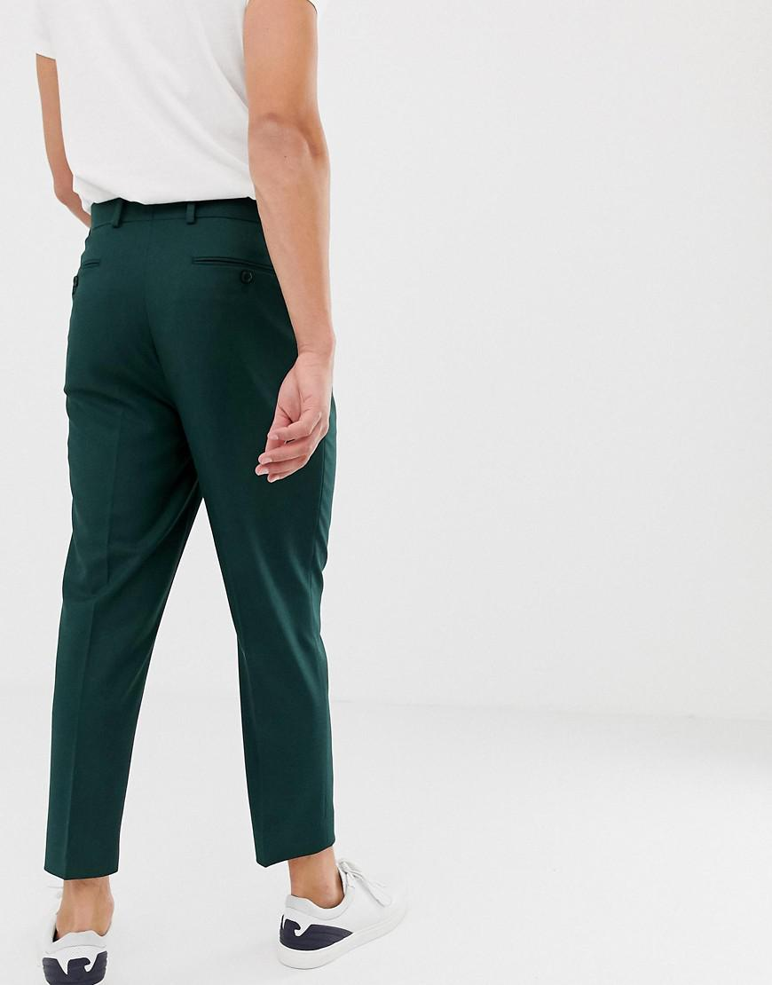 8ade2ff2ceae ASOS Tapered Crop Smart Pant With Pleats In Green in Green for Men - Lyst
