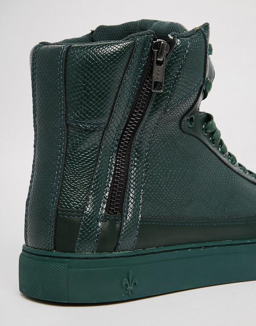 Criminal Damage Leather Python Mid Trainers in Green for Men