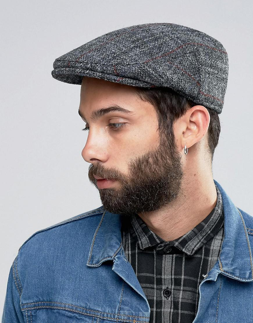 db8d5fbd55 ASOS Gray Harris Tweed Flat Cap for men