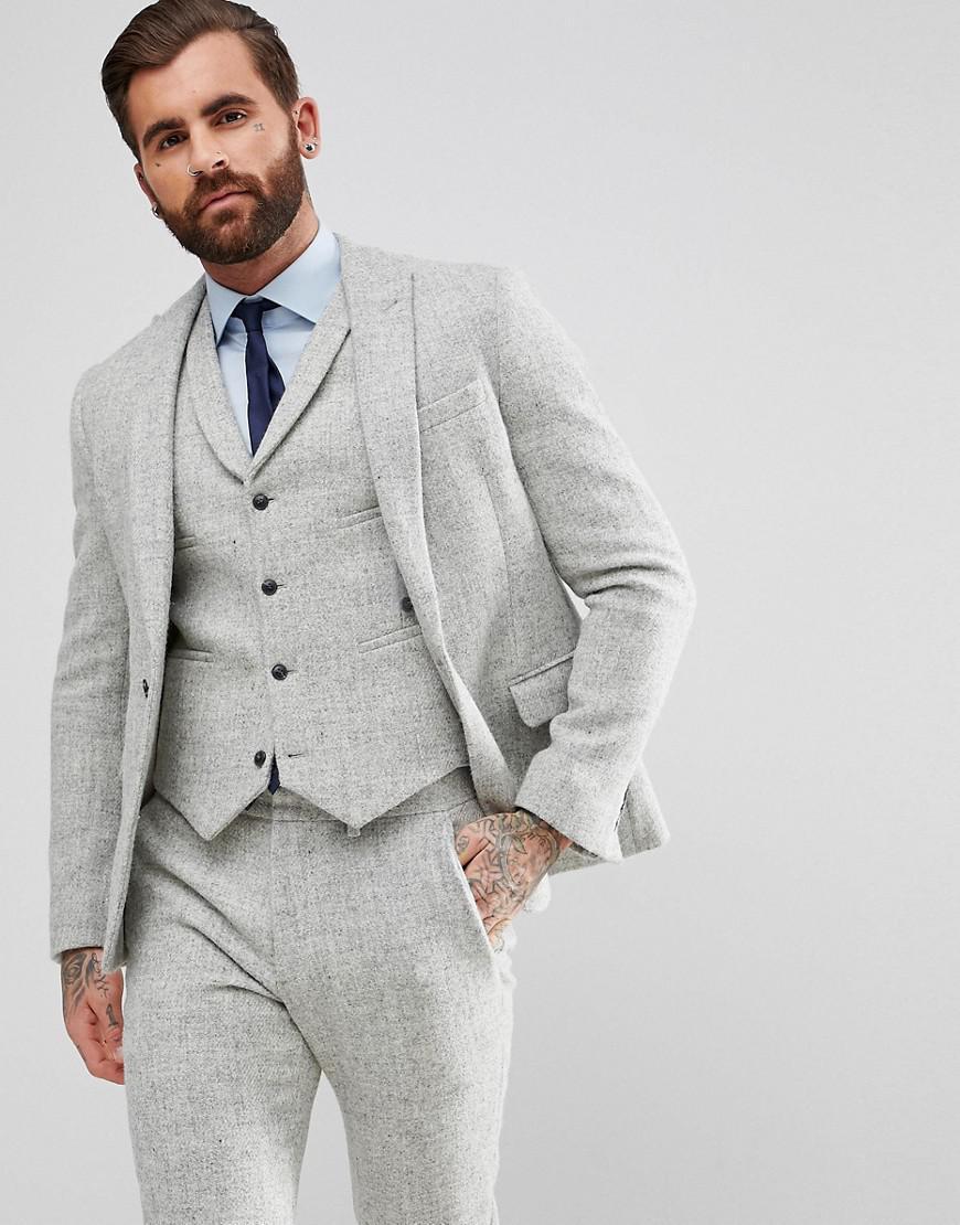 09dbcef3acdf Lyst - Veste de costume ajuste en tweed Harris 100% laine ASOS pour ...