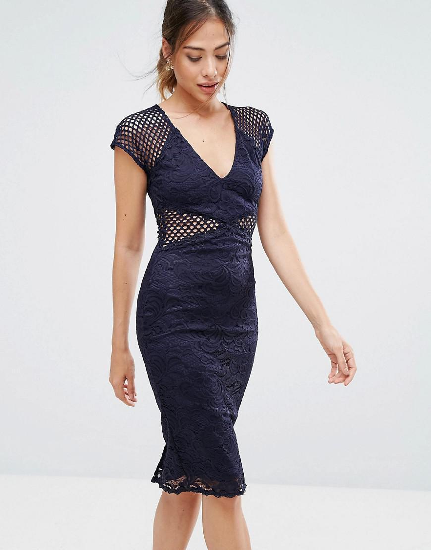 AX Paris Womens Lace Top Bodycon Midi Navy Dress - Online